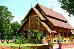 Northern Thai style building cultural centre. Nan,Thailand. ( Generality in Thailand ,and kind of art decorated in Buddhist church, temple pavilion ,temple hall stock photography