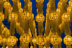Northern Thai style lantern decorated during special event and f. Estival Stock Images