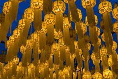 Northern Thai style lantern decorated during special event and f. Estival Royalty Free Stock Photography