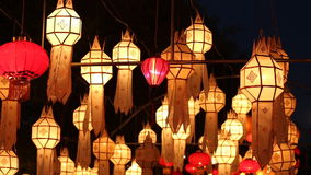 Northern Thai Style Lanterns at Loi Krathong Festival, Thailand. Northern Thai Style Lanterns at Loi Krathong Festival, Sukhothai, Thailand stock video