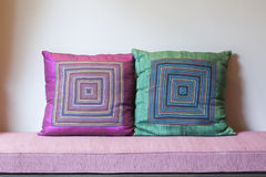 Northern Thailand Cushions. Northern Thailand handmade cushions in pink and green colour Royalty Free Stock Photos