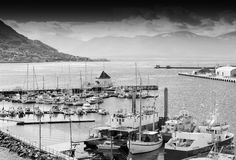 Northern Tromso city port black and white background Stock Image