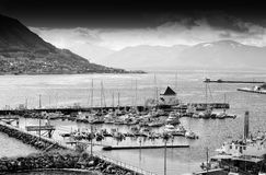 Northern Tromso city port black and white background Stock Photo