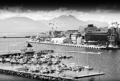 Northern Tromso city port black and white background Royalty Free Stock Photography