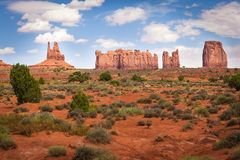 Northern View of Monument Valley. View of Monument Valley from north; from left to right King on His Throne, Stagecoach, Bear and Rabbit and Castle Rock Stock Photo
