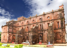 Northern wall of Basilica of Bom Jesus church, Goa stock photography