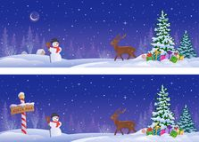 Northern winter banners vector illustration