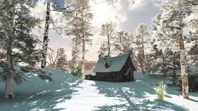 Northern Winter Cottage in Snow Stock Images