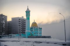 The northernmost mosque in Norilsk, Russian Federation.  Royalty Free Stock Image