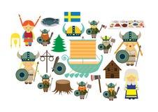 Northland da Suécia do país de Escandinávia dos vikngs com lotes dos elementos ilustração do vetor