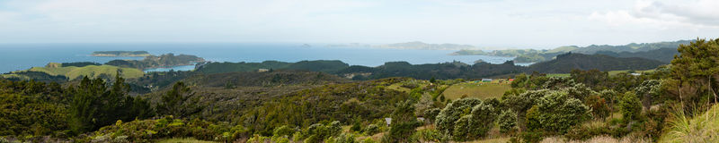Northland, North Island, New Zealand. Panorama of shore and ocean islands at the east side of Northland, North Island, New Zealand Stock Images
