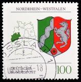 Northrhine西华里亚徽章,徽章联邦联邦州serie的,大约1993年 库存图片