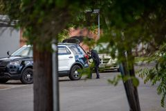 Northridge, CA / United States -  May 27, 2019: LAPD Patrol Units respond to brandishing/ADW call in suburban neighborhood with stock photos