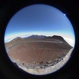 Northrn从Haleakala的顶端鱼眼睛视图 库存照片