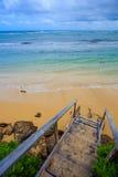 Northshore Oahu Hawaii Beach Stairs Royalty Free Stock Photo