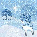 Northstar wonderland. Winter wonderland with deer trees and snow Royalty Free Stock Photo