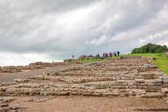 Housesteads Roman Fort. NORTHUMBERLAND, ENGLAND - JULY 7, 2012: The remains of Housesteads Roman Fort, part of Hadrian`s Wall in Northumberland, England Royalty Free Stock Photo