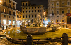 Northward view of the Piazza Navona with the fontana del Moro  the Moor Fountain  in Rome Stock Photos