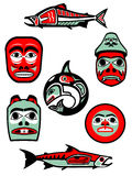Northwest Coast Native Designs. Set of illustrations of objects from the native peoples of the northwest coast of North America Royalty Free Stock Images