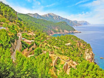Northwest coast of Majorca, Sierra de Tramuntana, coastline Stock Photography