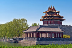 The northwest corner tower of Forbidden City wall. Royalty Free Stock Photography