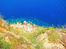 Northwest Majorca, bay with turquoise water, top view Royalty Free Stock Images