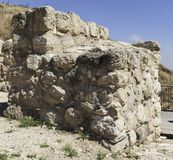 Northwest Tower of the Entrance Gate to Tel Lachish in Israel. Closeup of the northwest stone tower at the entrance to the tel lackish archaeological site in royalty free stock image