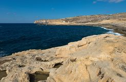 Coast of the island of Gozo Malta. Northwestern coast of the island of Gozo Malta Royalty Free Stock Image
