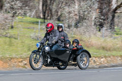1950 Norton ES2 Motorcycle. Adelaide, Australia - September 25, 2016: Vintage 1950 Norton ES2 Motorcycle with sidecar on country roads near the town of Birdwood stock photo