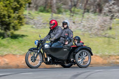 1950 Norton ES2 Motorcycle. Adelaide, Australia - September 25, 2016: Vintage 1950 Norton ES2 Motorcycle with sidecar on country roads near the town of Birdwood stock photos