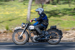 1949 Norton M18 Motorcycle on country road. Adelaide, Australia - September 25, 2016: Vintage 1949 Norton M18 Motorcycle on country roads near the town of Royalty Free Stock Images