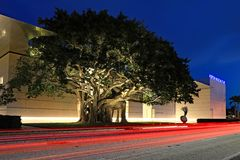 Norton Museum of Art at night stock images