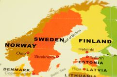 Noruega, Sweden e Finlandia no mapa Imagem de Stock Royalty Free