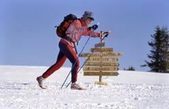 Noruega un solo langlaufer cerca de un poste indicador imagen de archivo libre de regalías