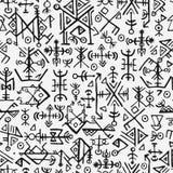 Noruegueses de Futhark islandic e teste padrão sem emenda do símbolo de viquingue Símbolos mágicos da tração da mão como as talis Imagem de Stock