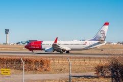 Norvégien Boeing 737-800 à l'aéroport de Copenhague Images stock