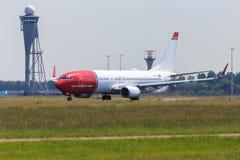 norvégien COM voyagent en jet chez Schiphol Photo libre de droits