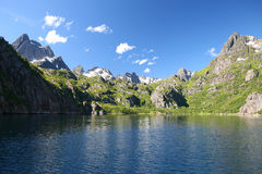 Norvegian fjords Trollfjorden, Lofots Stock Images