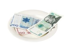 Norvegian money on a plate Stock Images