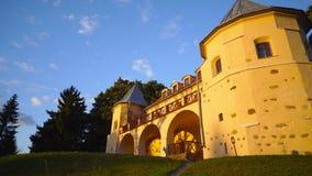 Norviliskiu Castle in sunset, Lithuania stock video
