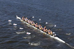 Norwalk River Crew races in the Head of Charles Regatta Men`s Youth Eights Stock Photography