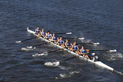 Norwalk River Crew races in the Head of Charles Regatta Men`s Youth Eights Stock Image