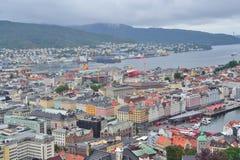 norway Överkant-sikt av Bergen Royaltyfri Bild