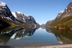 Norway. Beautiful view of the Norwegian fjord. Scenery near Flam and Aurland Royalty Free Stock Images
