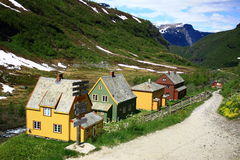 Norway. Typical Norwegian house on a background of mountains Royalty Free Stock Photos
