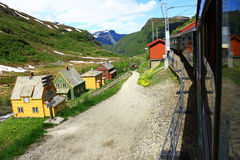 Norway. Typical Norwegian house on a background of mountains Royalty Free Stock Photo