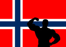 Norway. National flag of Norway with Athlete silhouette. Vector illustration Stock Photography