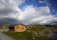 Norway. Yellow mountain cabin in Jotunheim national park, Norway royalty free stock photography