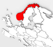 Norway Abstract 3D Map Europe Country Continent. An abstract 3d map of the country of Norway highlighted in red on the continent of Europe in the northern and Royalty Free Stock Photos