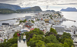 Norway. Aerial european rural city view. Alesund. Kniven viewpoi Stock Photo